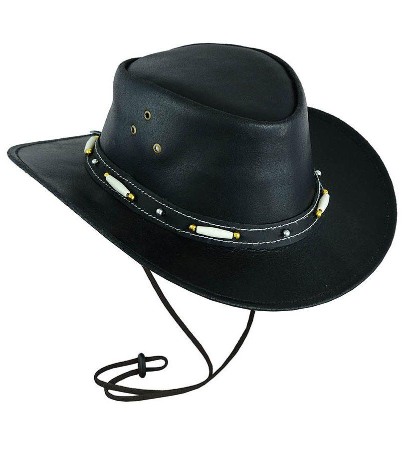 LEATHER COWBOY WESTERN AUSSIE STYLE BUSH HAT BLACK BROWN