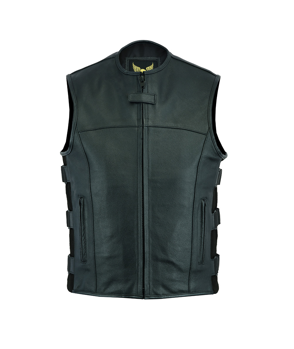 Mens Casual Style Quality Leather Motorcycle Biker Cut Waistcoat All Sizes