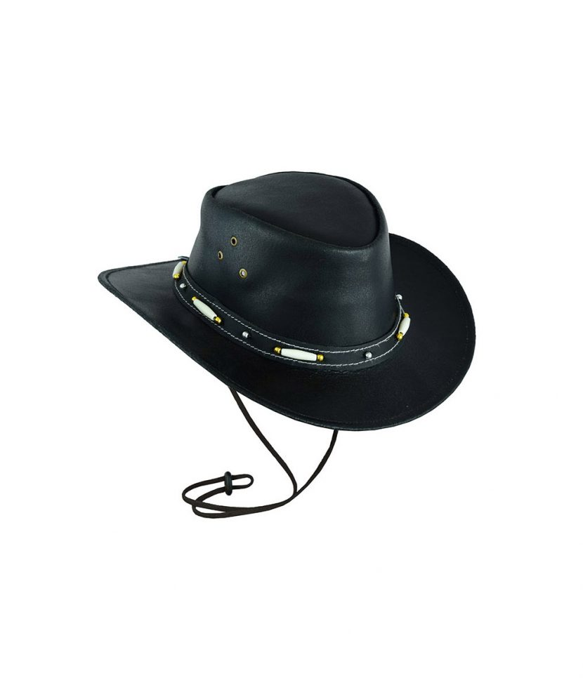 Leatherick Classic Western Style Cowboy Leather hat Dark Brown