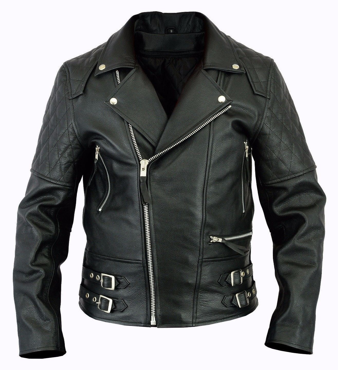 Men motorcycle biker vintage brando leather jacket with removable protection