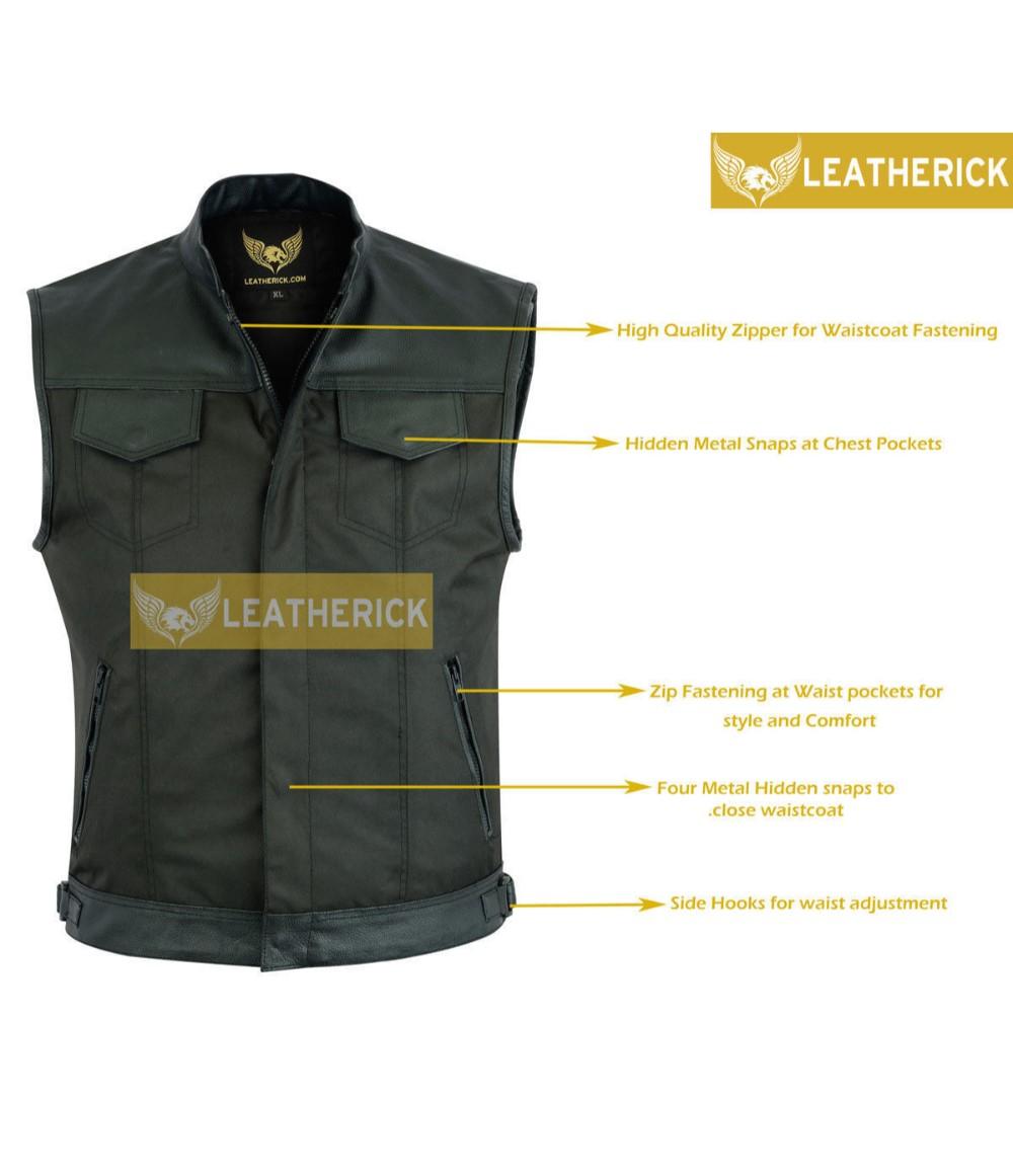 Collarless Cordura Biker Waistcoat//Vest Black Real Leather Trim L
