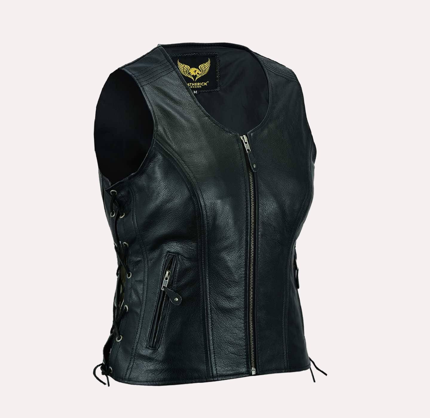 Women Real Black Leather Bikers Waistcoat Vest